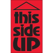 "3 x 5"" - ""This Side Up"" (Fluorescent Red) Labels"
