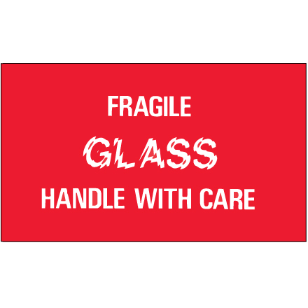 "3 x 5"" - ""Fragile - Glass - Handle With Care"" Labels"