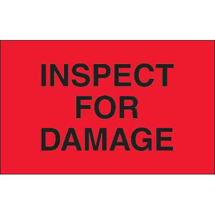"1 1/4 x 2"" - ""Inspect For Damage"" (Fluorescent Red) Labels"