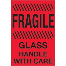 "4 x 6"" - ""Fragile - Glass - Handle With Care"" (Fluorescent Red) Labels"