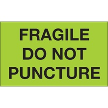 "3 x 5"" - ""Fragile - Do Not Puncture"" (Fluorescent Green) Labels"