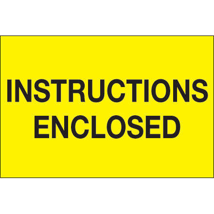 "2 x 3"" - ""Instructions Enclosed"" (Fluorescent Yellow) Labels"