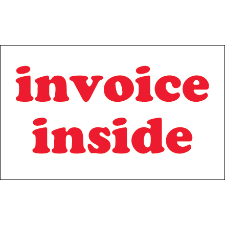 "3 x 5"" - ""Invoice Inside"" Labels"