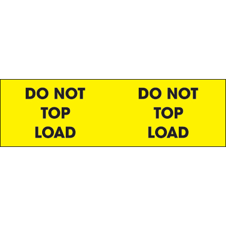 "3 x 10"" - ""Do Not Top Load"" (Fluorescent Yellow) Labels"