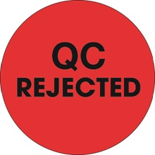 "2"" Circle - ""QC Rejected"" Fluorescent Red Labels"