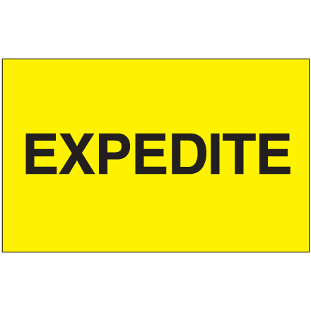 "3 x 5"" - ""Expedite"" (Fluorescent Yellow) Labels"