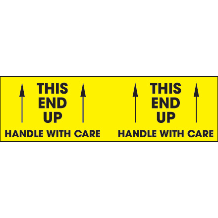"3 x 10"" - ""This End Up - Handle With Care"" (Fluorescent Yellow) Labels"
