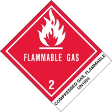 "4 x 4 3/4"" - ""Compressed Gas, Flammable, N.O.S."" Labels"