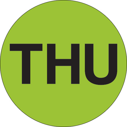 "2"" Circle - ""THU"" (Fluorescent Green) Days of the Week Labels"