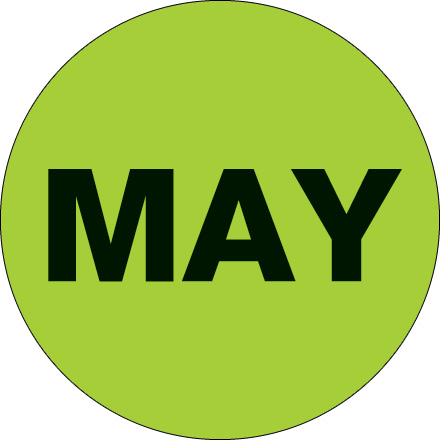 "1"" Circle - ""MAY"" (Fluorescent Green) Months of the Year Labels"