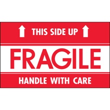 "3 x 5"" - ""Fragile - This Side Up - HWC"" Labels"