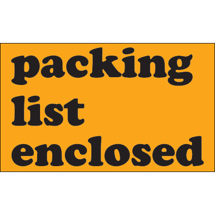 "3 x 5"" - ""Packing List Enclosed"" (Fluorescent Orange) Labels"