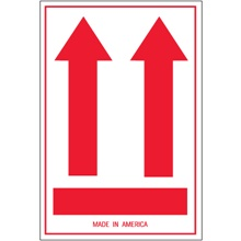 "4 x 6"" - (Two Red Arrows Over Red Bar) Arrow Labels"